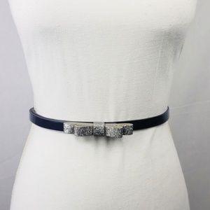 LOFT | Navy & Silver Patent Bow Belt